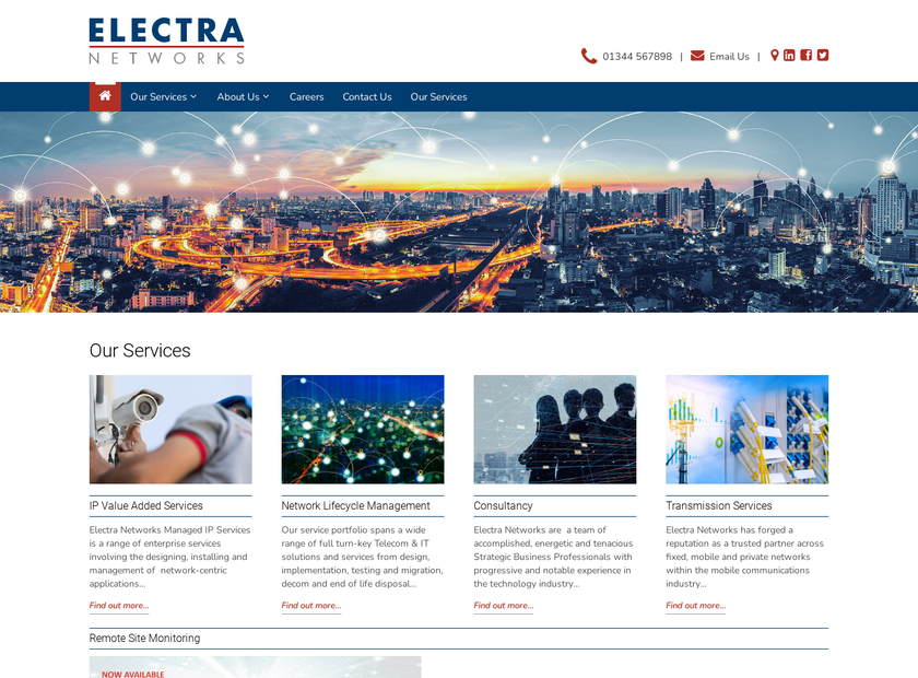 Electra Networks Ltd homepage screenshot