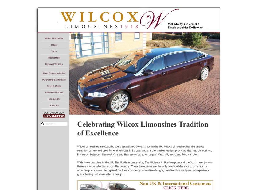 Wilcox Limousines Limited homepage screenshot