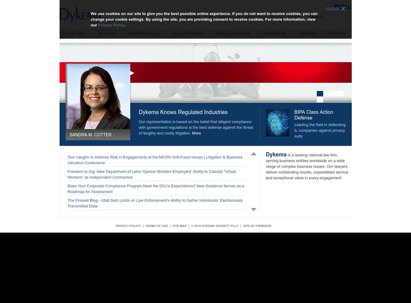 Dykema Gossett PLLC homepage screenshot