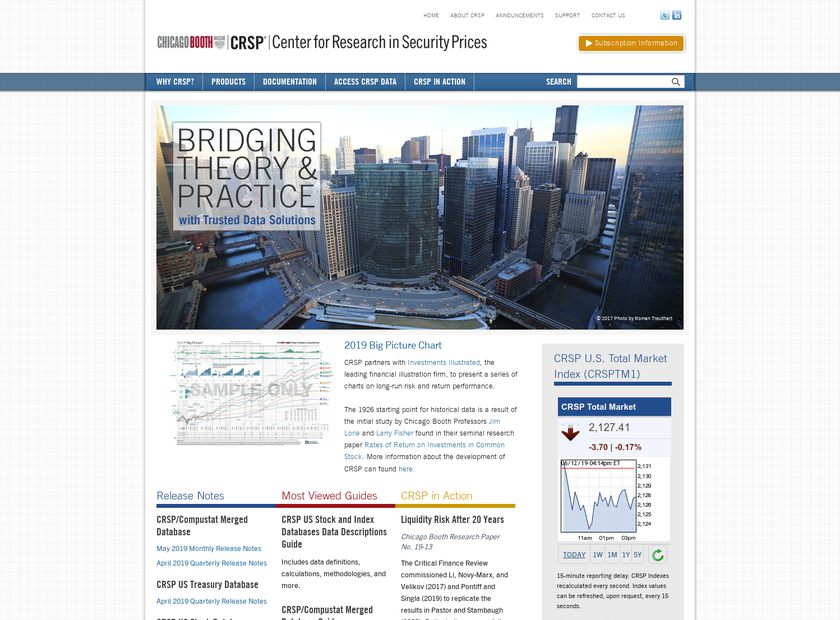 Center for Research in Securities Prices homepage screenshot