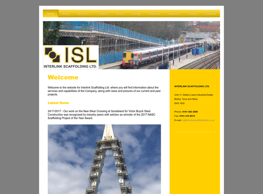Interlink Scaffolding Ltd homepage screenshot