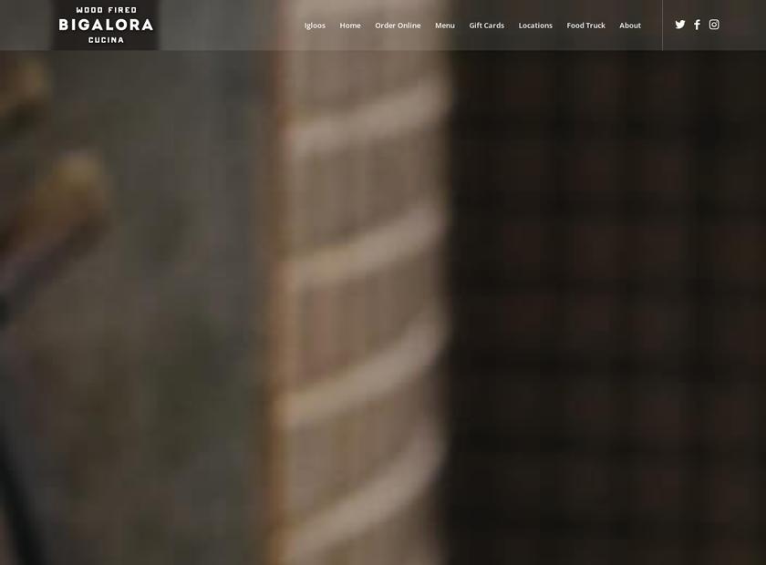 Bigalora Wood Fired Cucina homepage screenshot
