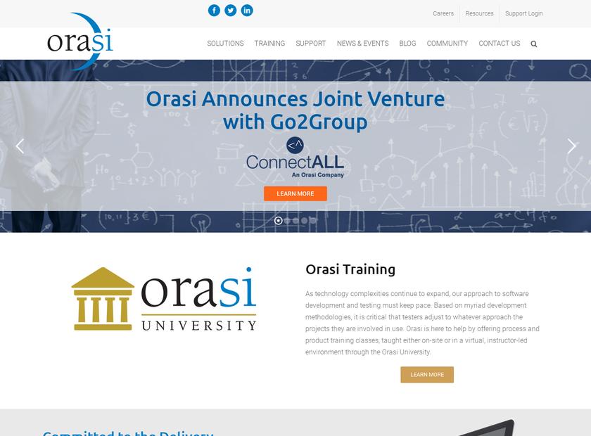 Orasi Software Inc homepage screenshot