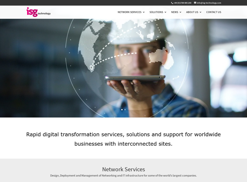 ISG Technology Ltd homepage screenshot