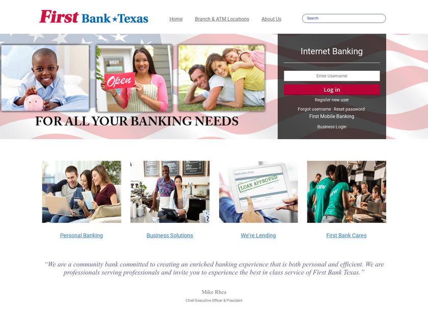 First Bank Texas homepage screenshot