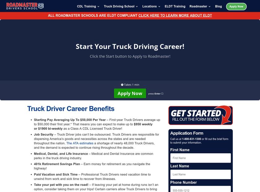 Roadmaster Drivers School homepage screenshot