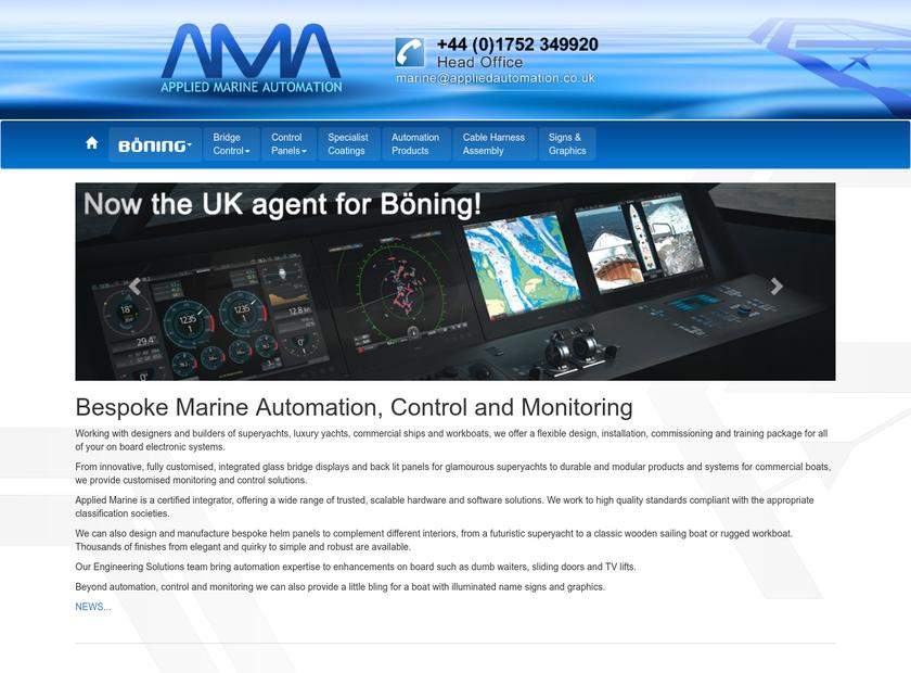 Applied Marine Automation homepage screenshot