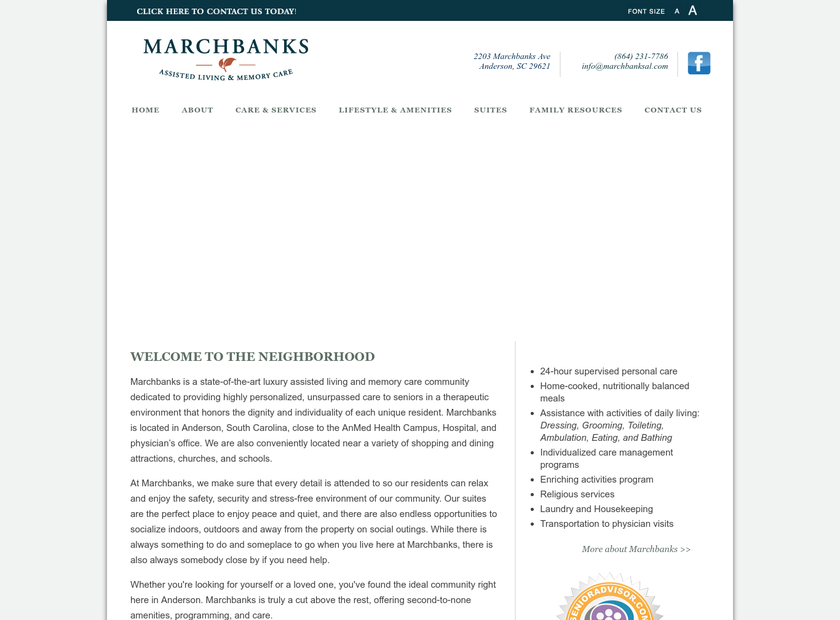 Marchbanks homepage screenshot