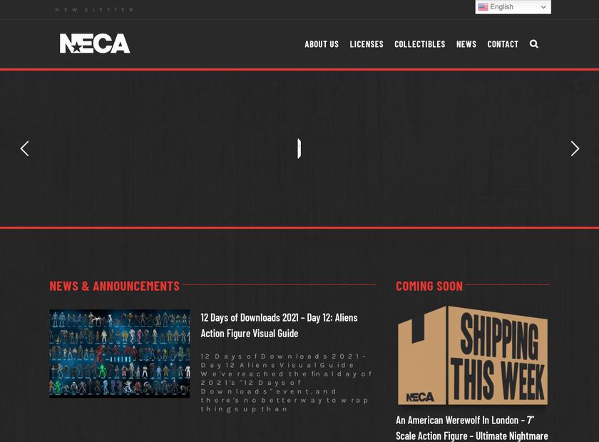 NECA homepage screenshot