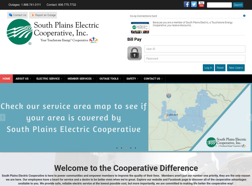 South Plains Electric Cooperative Inc homepage screenshot