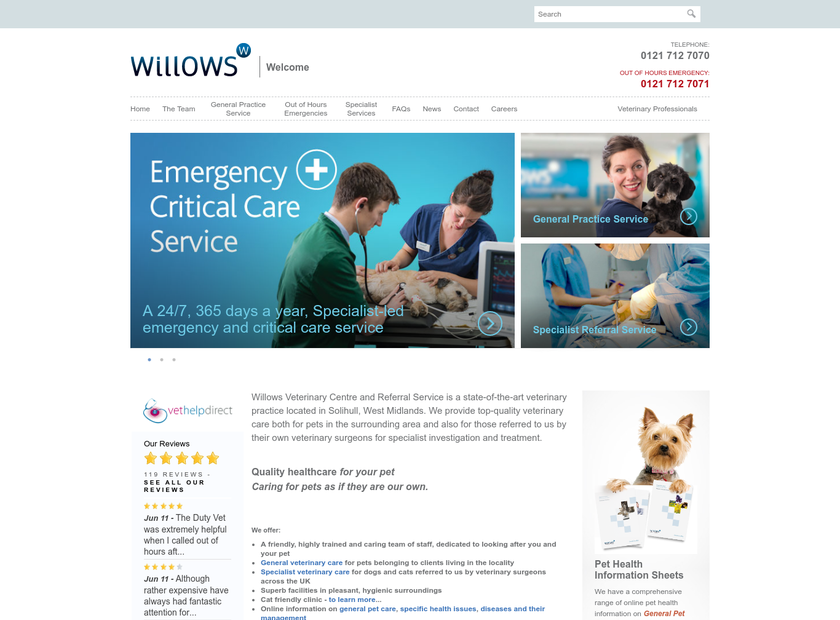 Willows Veterinary Centre and Referral Service homepage screenshot
