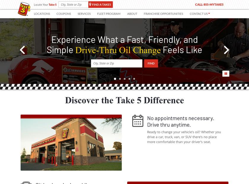 Express Lube homepage screenshot