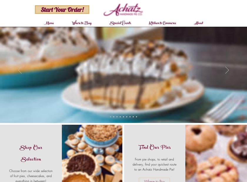 Achatz Handmade Pie Company homepage screenshot