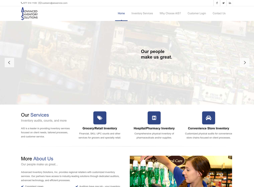 Advanced Inventory Solutions Inc homepage screenshot