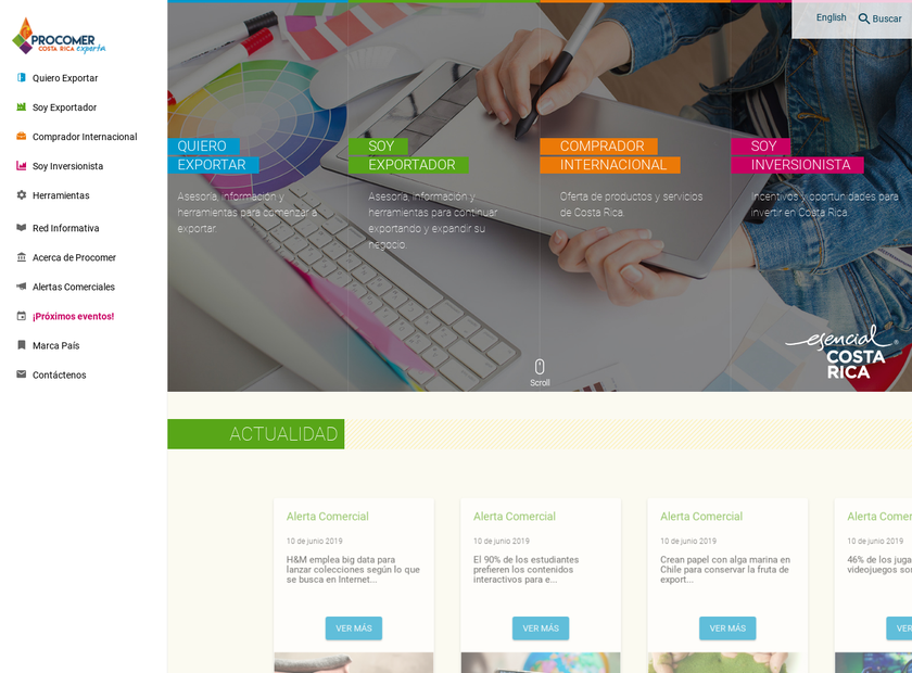 PROCOMER homepage screenshot