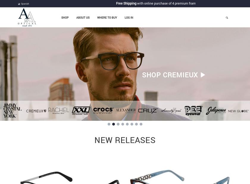 A&A Optical Company homepage screenshot