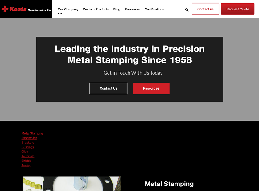 Keats Manufacturing Co. homepage screenshot