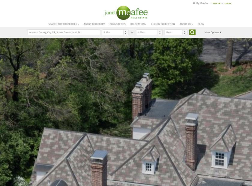 Janet McAfee Inc. homepage screenshot