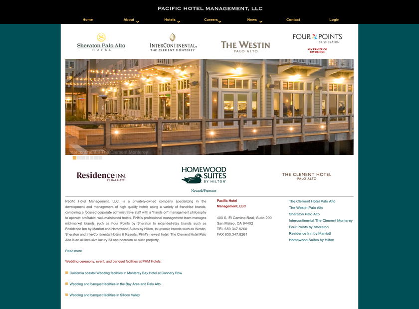 PACIFIC HOTEL MANAGEMENT LLC homepage screenshot