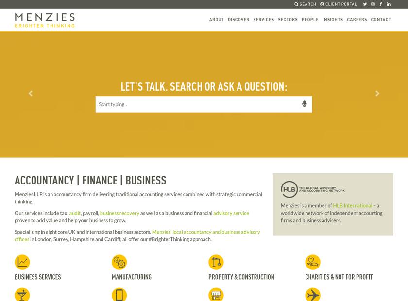 Menzies LLP homepage screenshot