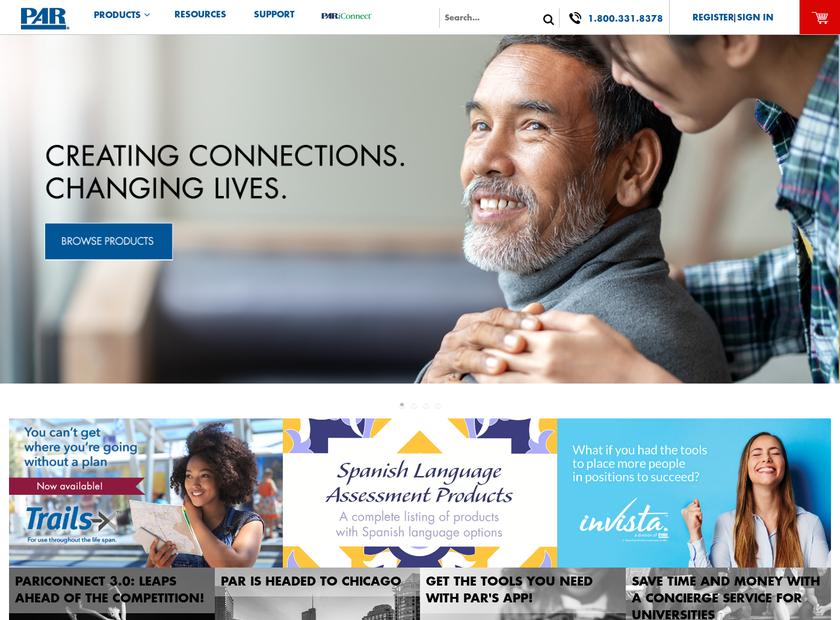 Psychological Assessment Resources , Inc. homepage screenshot
