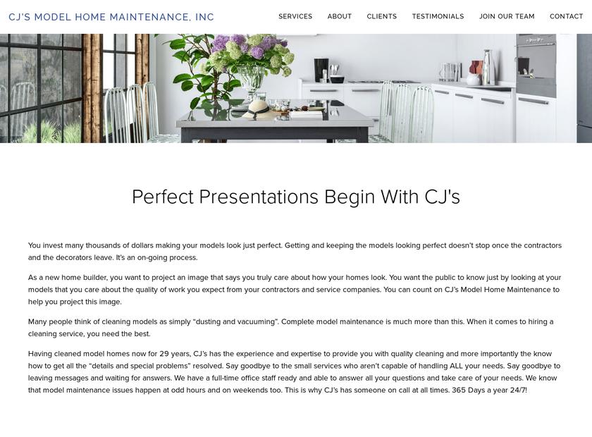 CJ's Model Home Maintenance, Inc. homepage screenshot