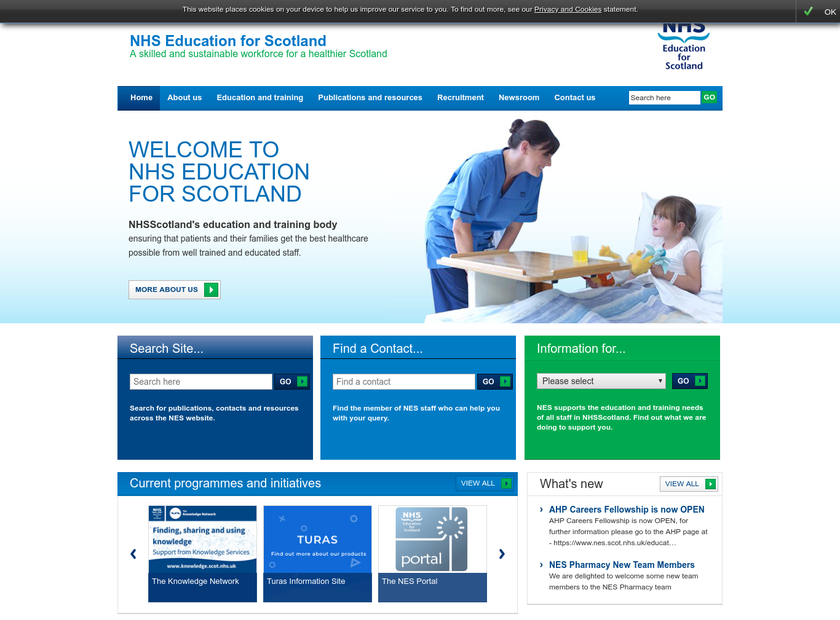 NHS Education homepage screenshot