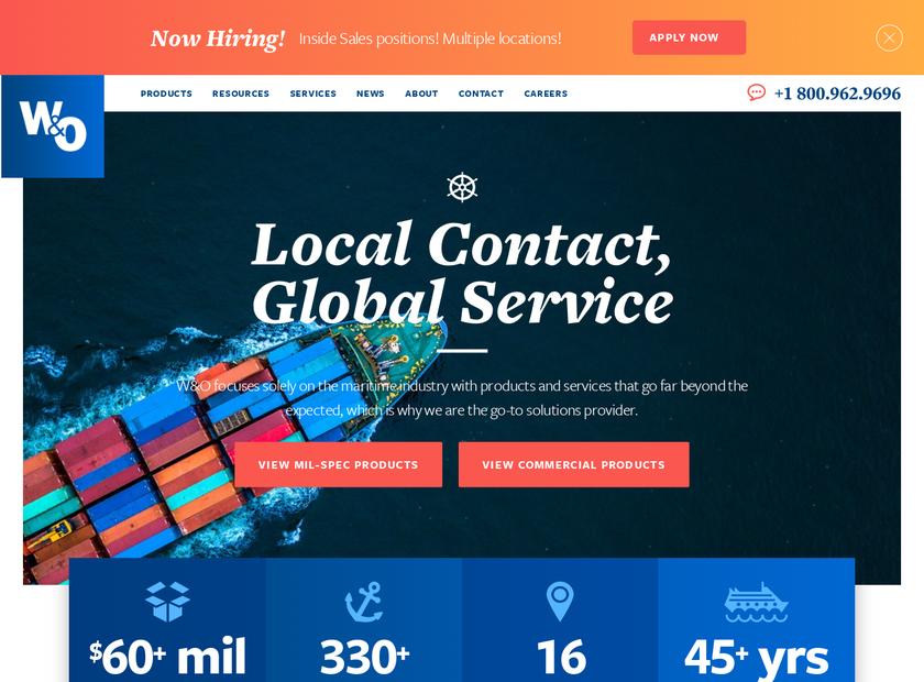 W&O Supply Inc homepage screenshot