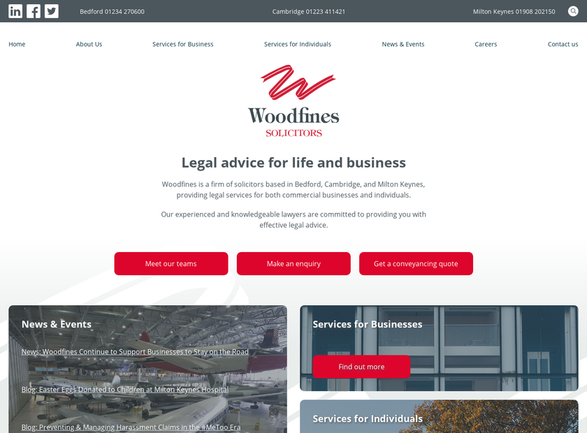 Woodfines LLP homepage screenshot
