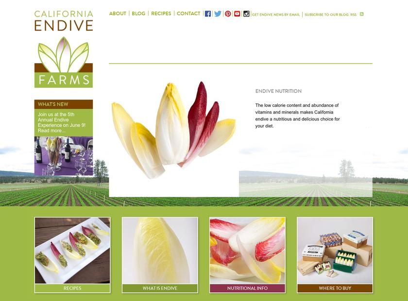 California Endive Farms homepage screenshot
