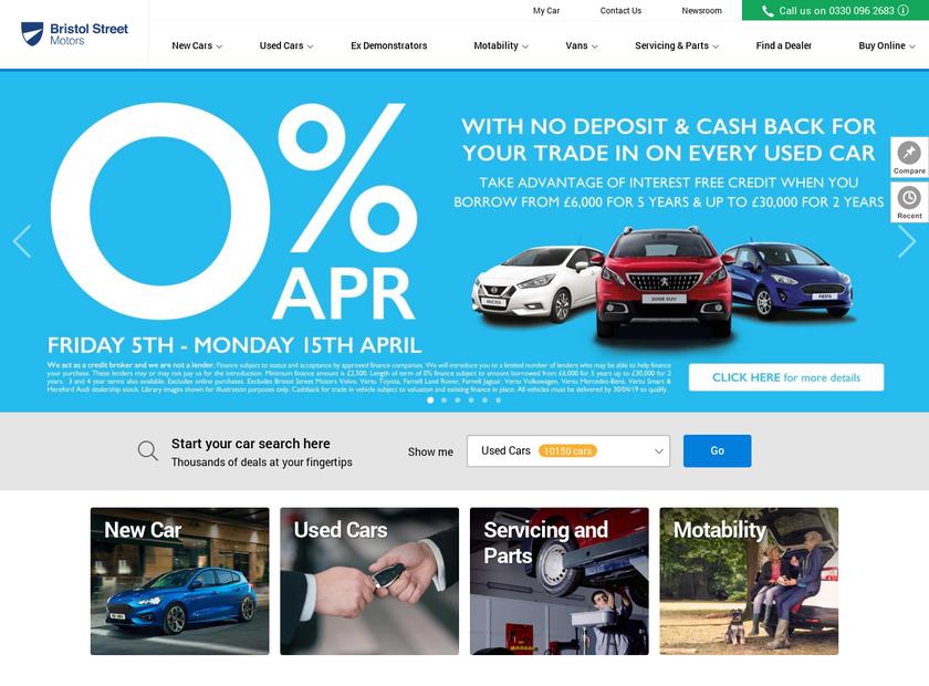 Bristol Street Motors homepage screenshot