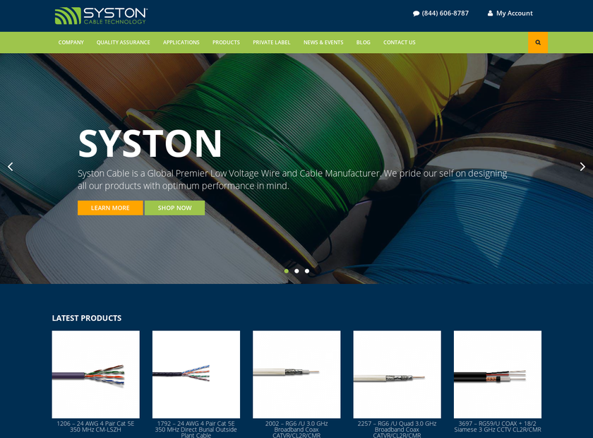 Syston Cable Technology Corp homepage screenshot