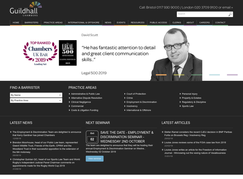 Guildhall Chambers homepage screenshot