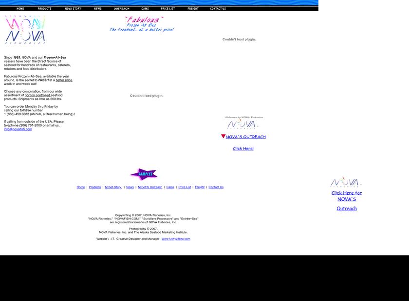 NOVA Fisheries, Inc. homepage screenshot