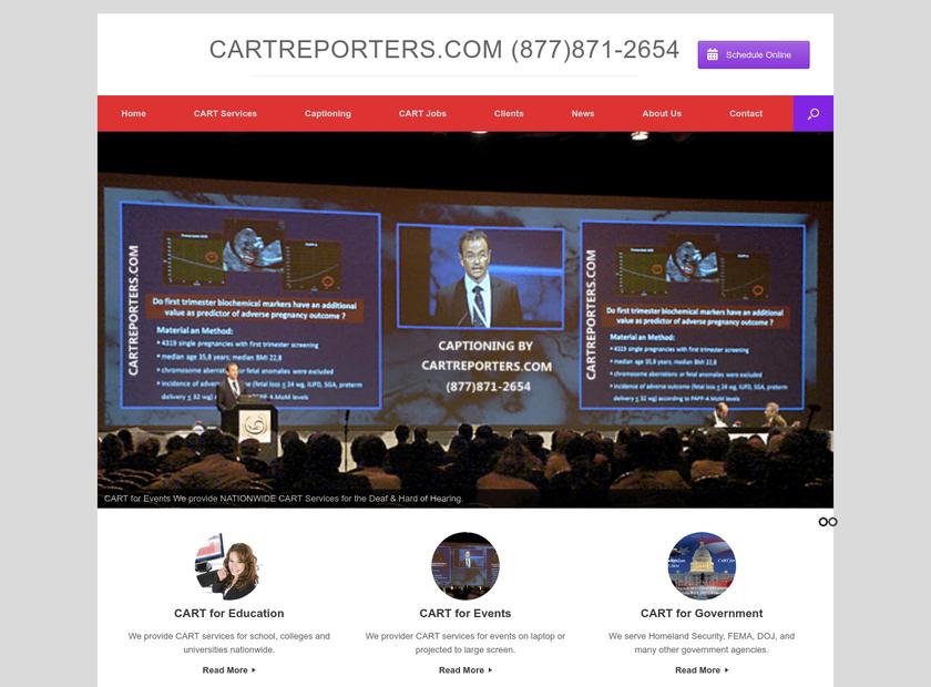 CART Reporters homepage screenshot