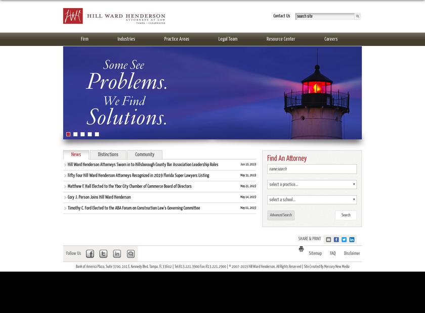 Hill Ward Henderson homepage screenshot