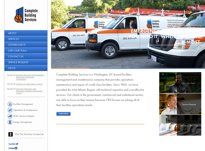 Complete Building Services homepage screenshot