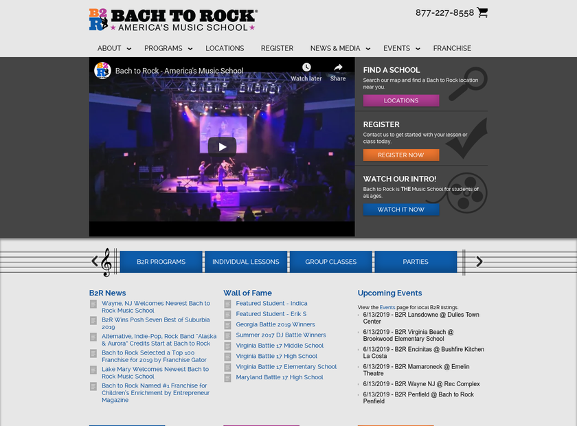 Bach to Rock: America's Music School homepage screenshot