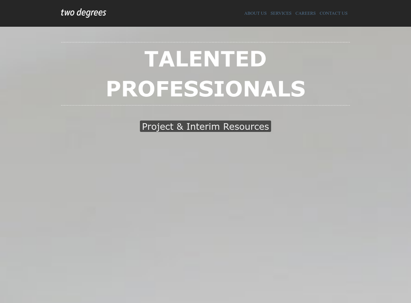 Two Degrees homepage screenshot