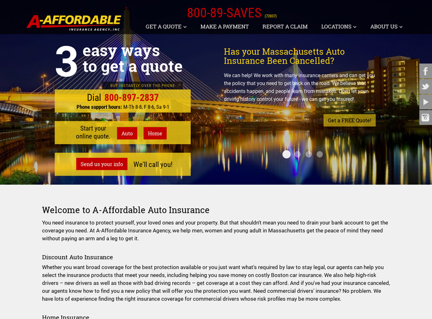 A-Affordable Insurance Agency Inc homepage screenshot