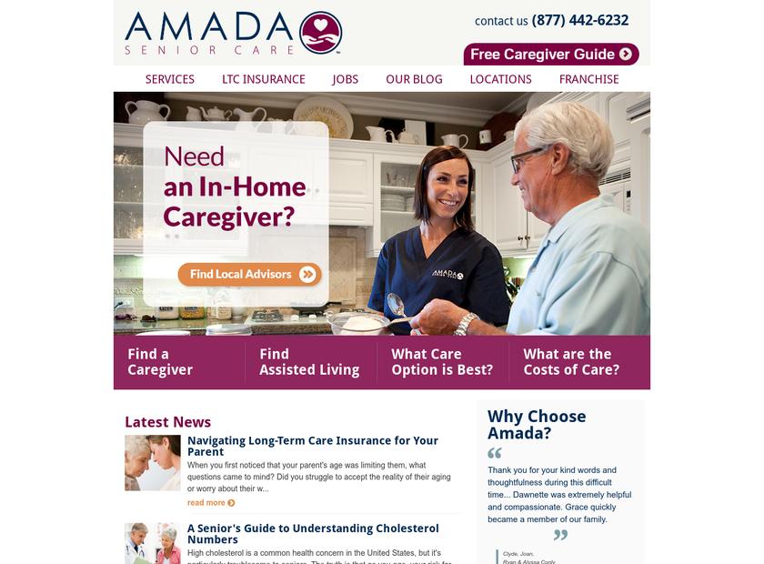 Amada Senior Care Inc homepage screenshot