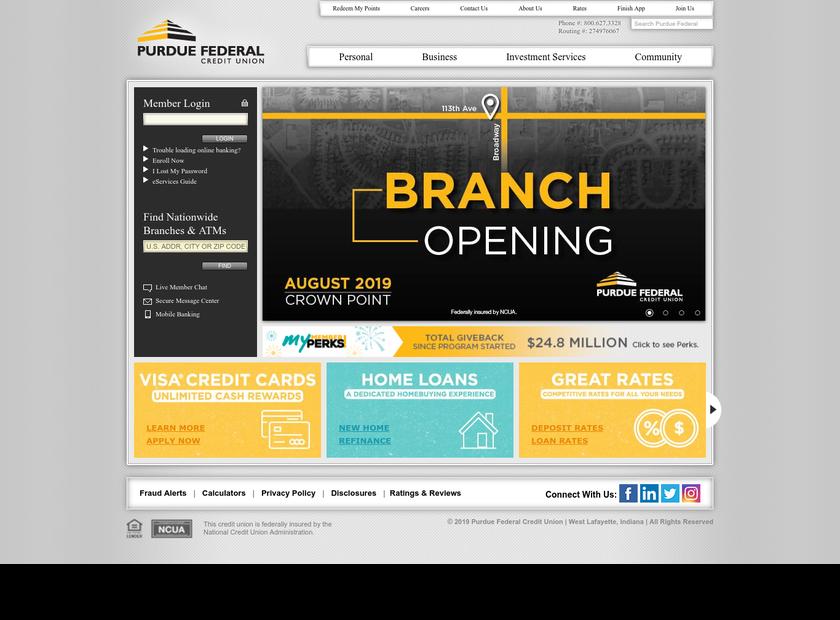 Purdue Employees Federal Credit Union homepage screenshot