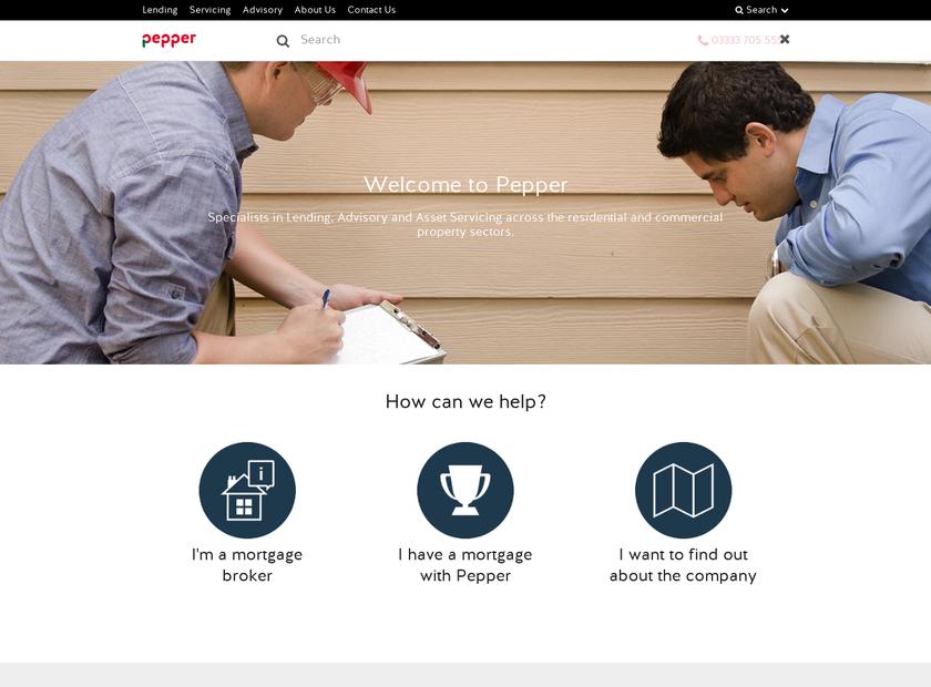 Pepper UK homepage screenshot