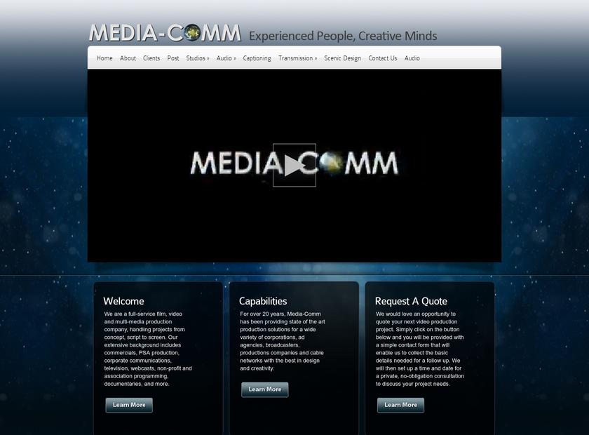 MediaComm homepage screenshot