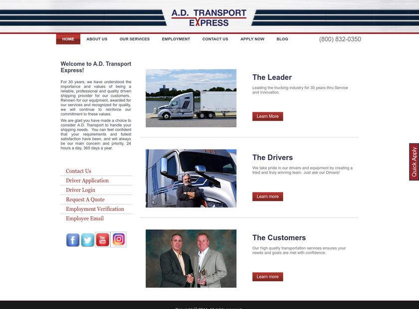A.D. Transport Express Inc. homepage screenshot