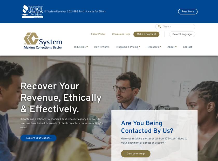 I.C. System Inc homepage screenshot