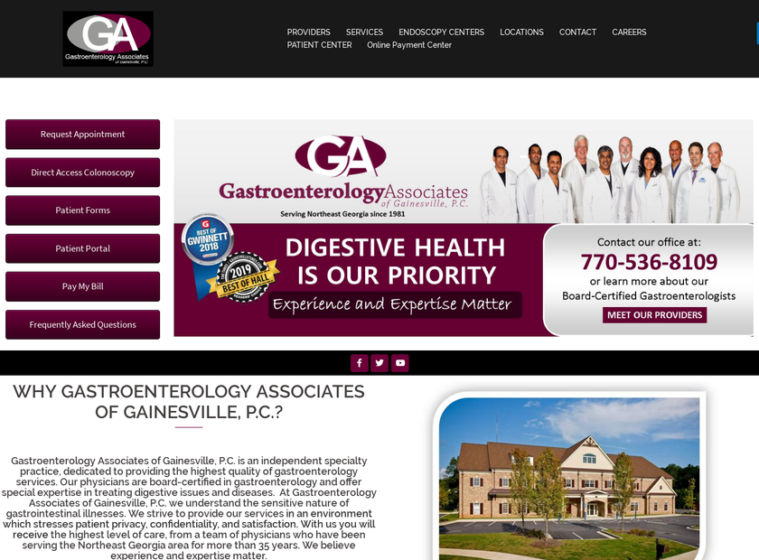 Gastroenterology Associates of Gainesville P.C homepage screenshot