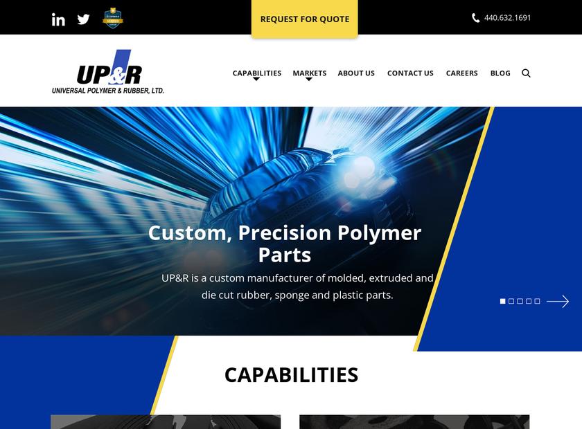 Universal Polymer & Rubber Ltd homepage screenshot