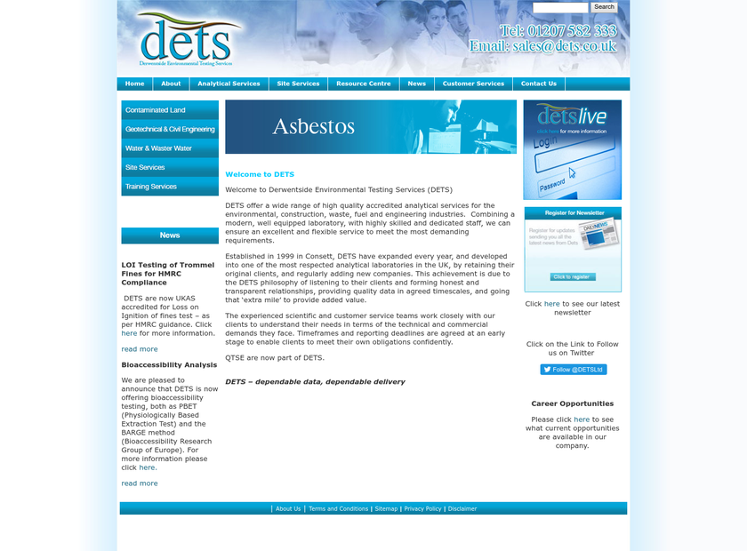 Derwentside Environmental Testing Services Ltd homepage screenshot