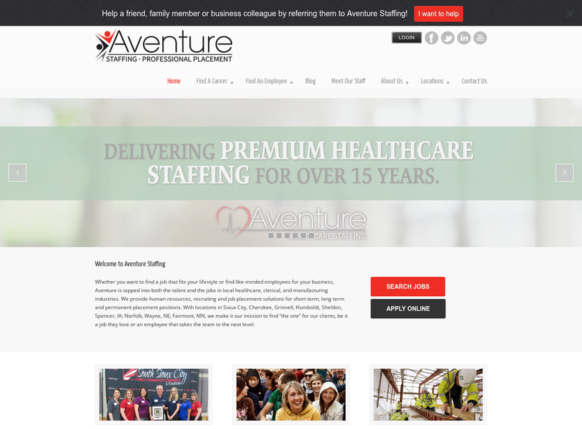 Aventure Staffing and Professional Services LLC homepage screenshot